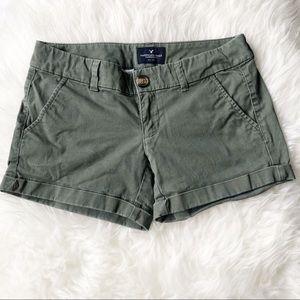 AMERICAN EAGLE Olive Green Khaki Midi Shorts 0